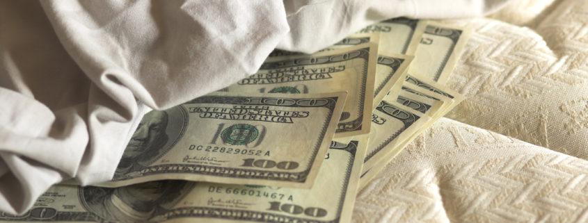 Money under a mattress