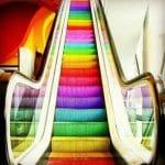 rainbow painted escalator steps