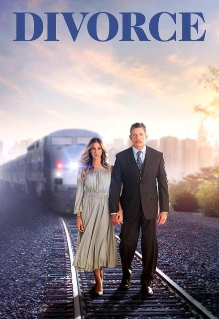Sarah Jessica Parker and Thomas Haden Church walking on railroad tracks with train coming
