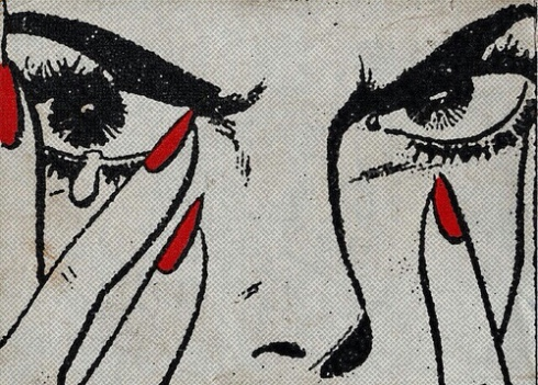Cartoon angry woman's face