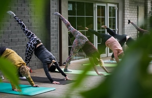 Women fighting post divorce depression with yoga